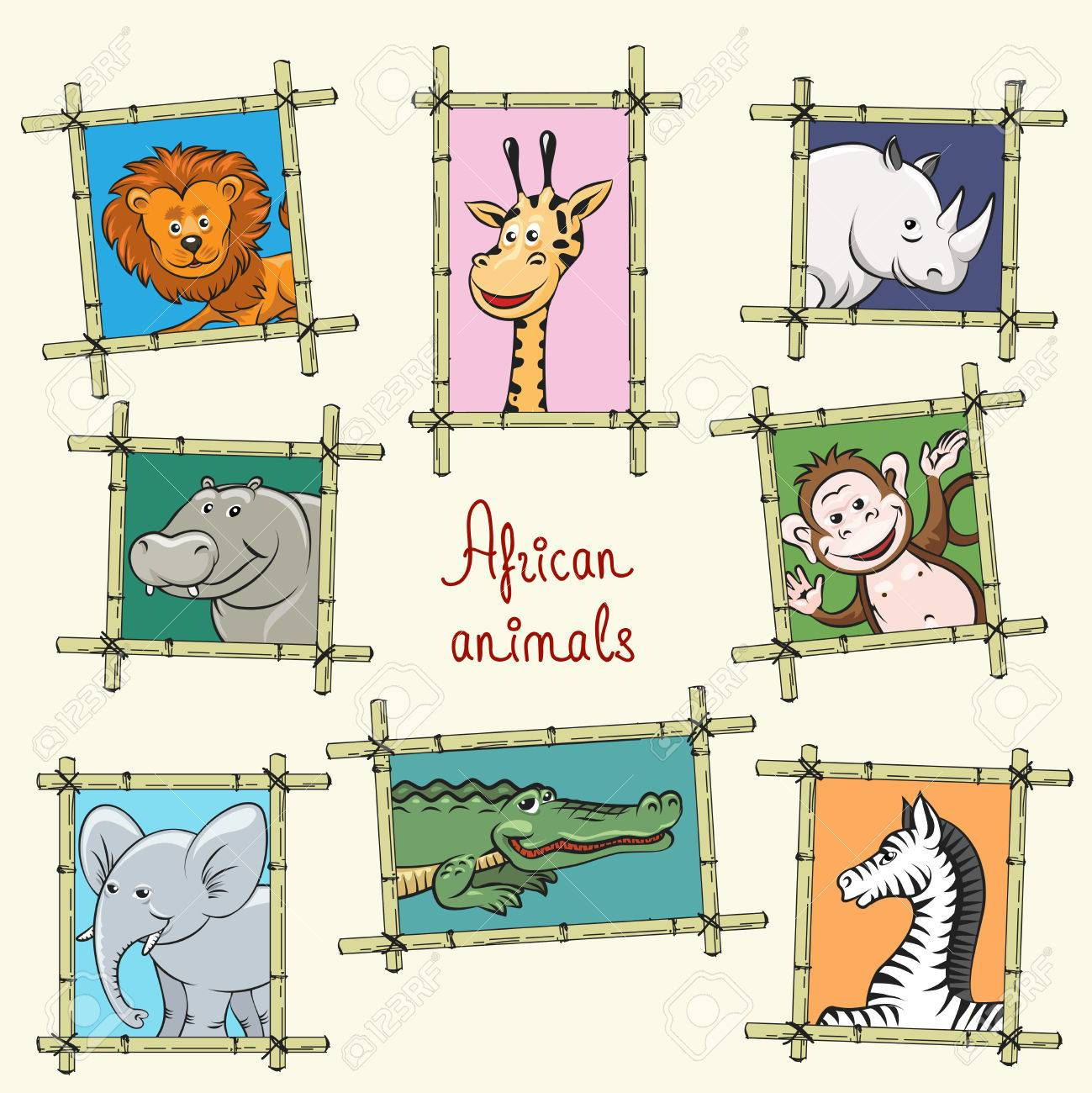 African Animals In A Wooden Frames. Monkey, Lion, Elephant And ...