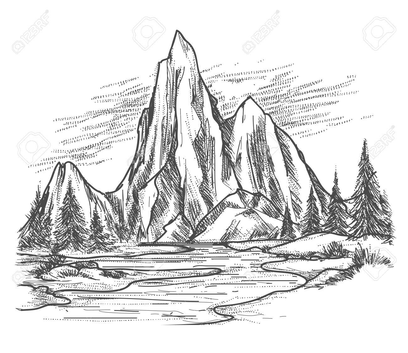Mountain Lake Landscape Hand Drawn Mountain View With Forest