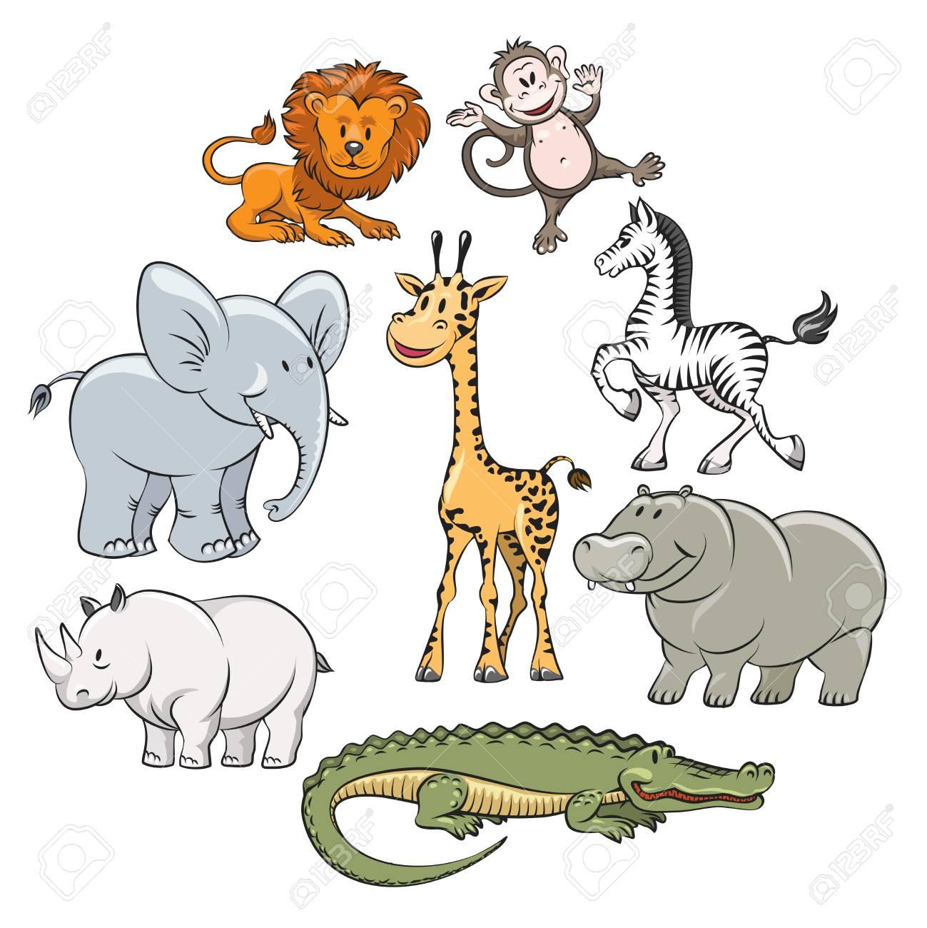 Cartoon safari and jungle animals flat icons. Vector illustration - 53922383
