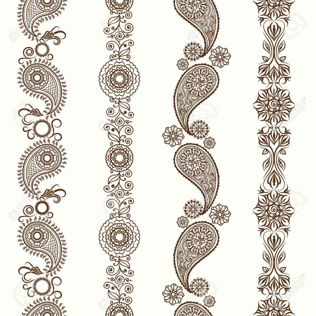 Henna borders. Mehndi ornamental henna seamless borders - 54351862