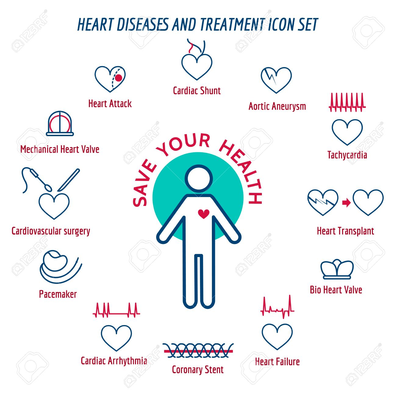Heart health human heart disease and heart attack symptoms heart health human heart disease and heart attack symptoms vector illustration stock vector ccuart Image collections