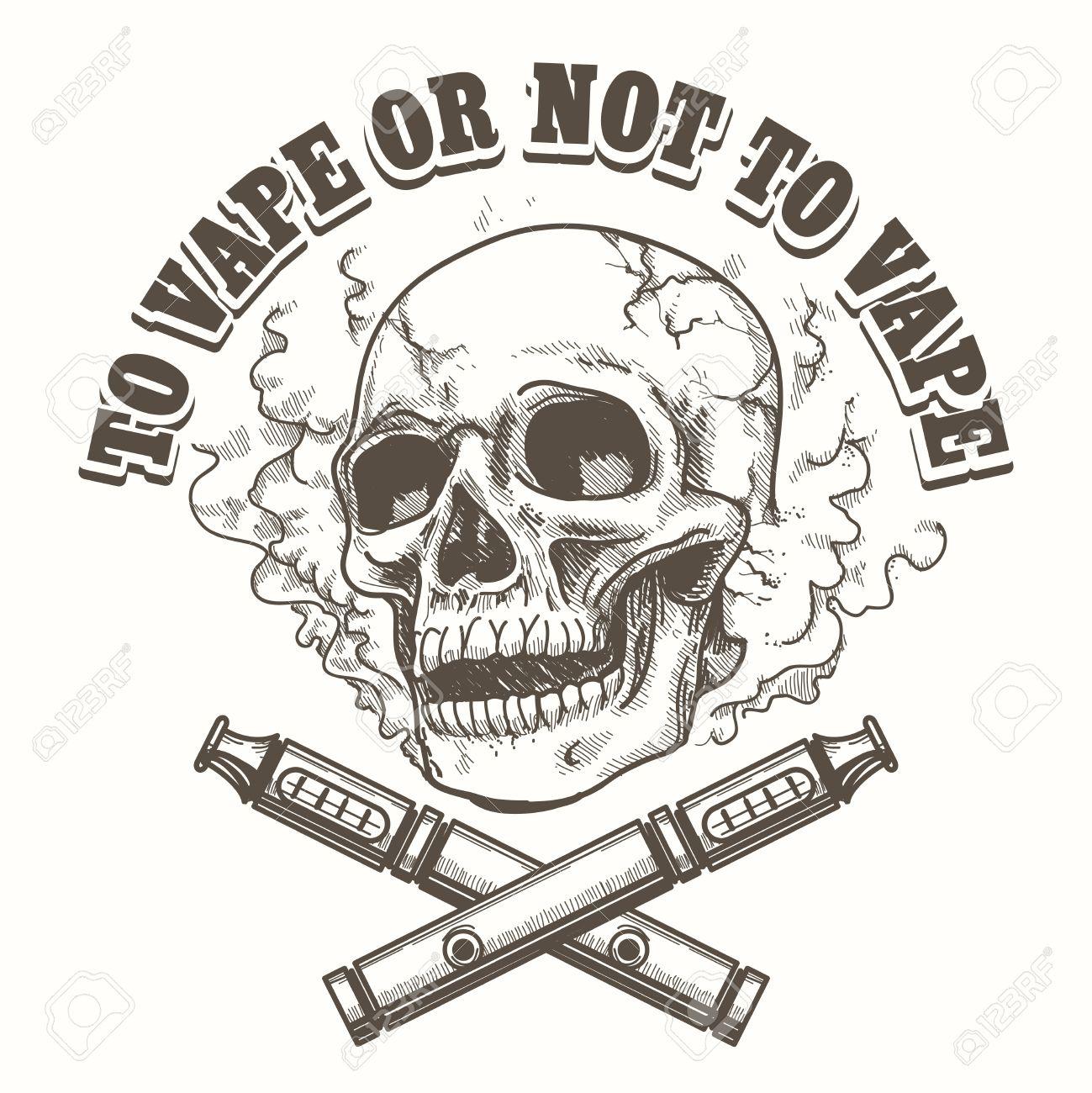E-Zigarette Logo-Vorlage Mit Dem Schädel. Vape Etikett Oder Vape ...