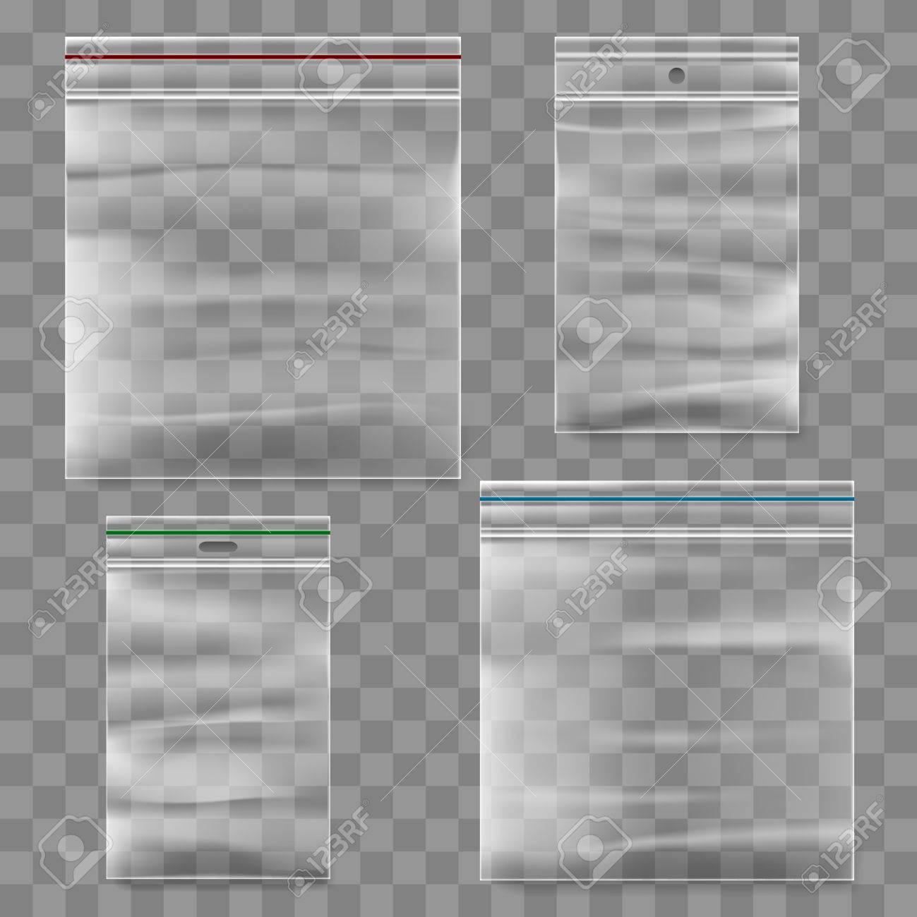 Plastic zipper bag template. Transparent ziplock bags icons. - 56991648
