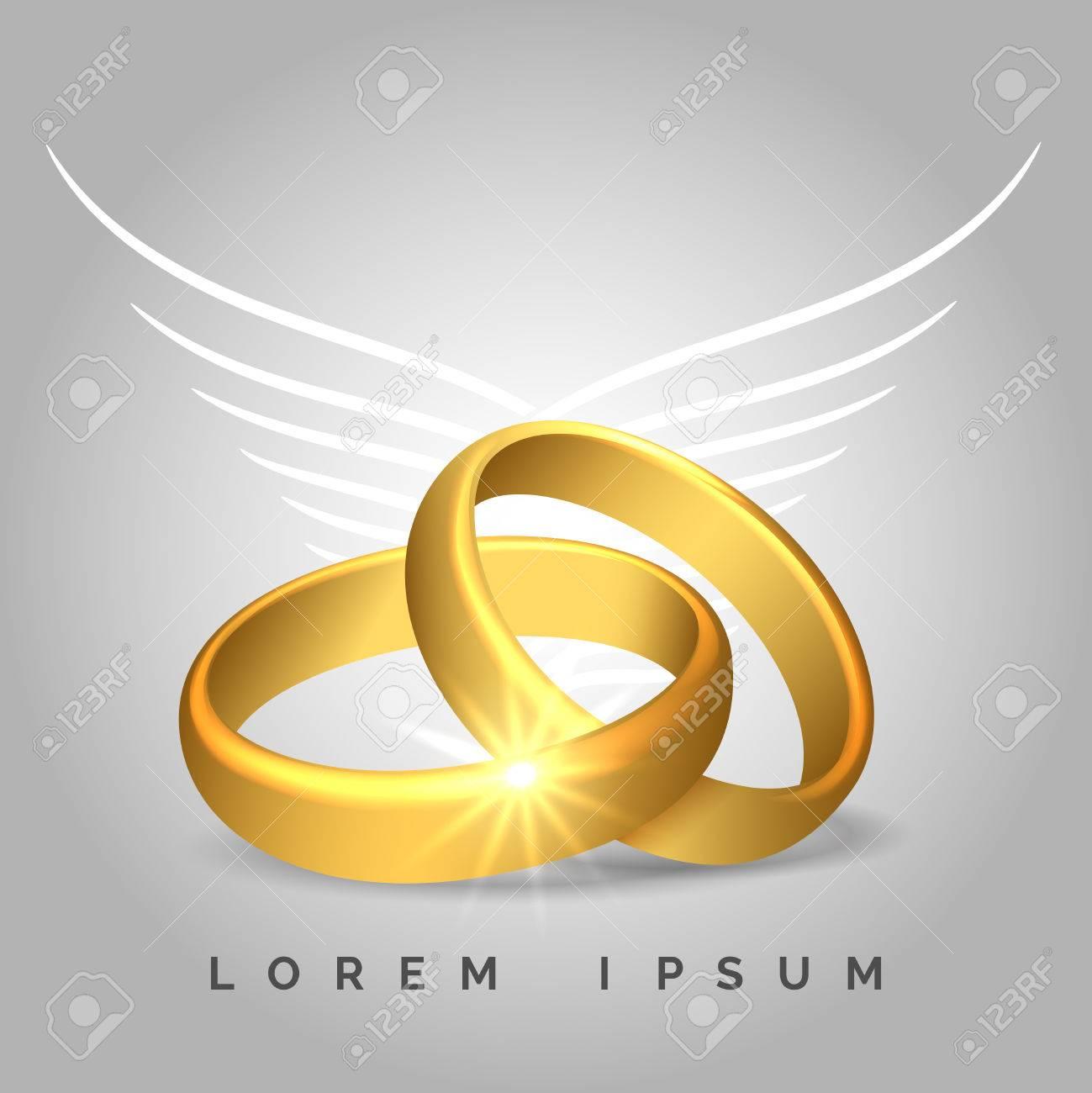 Paar Goldene Hochzeit Ringe Mit Engelsflugeln Fur Hochzeitskarten