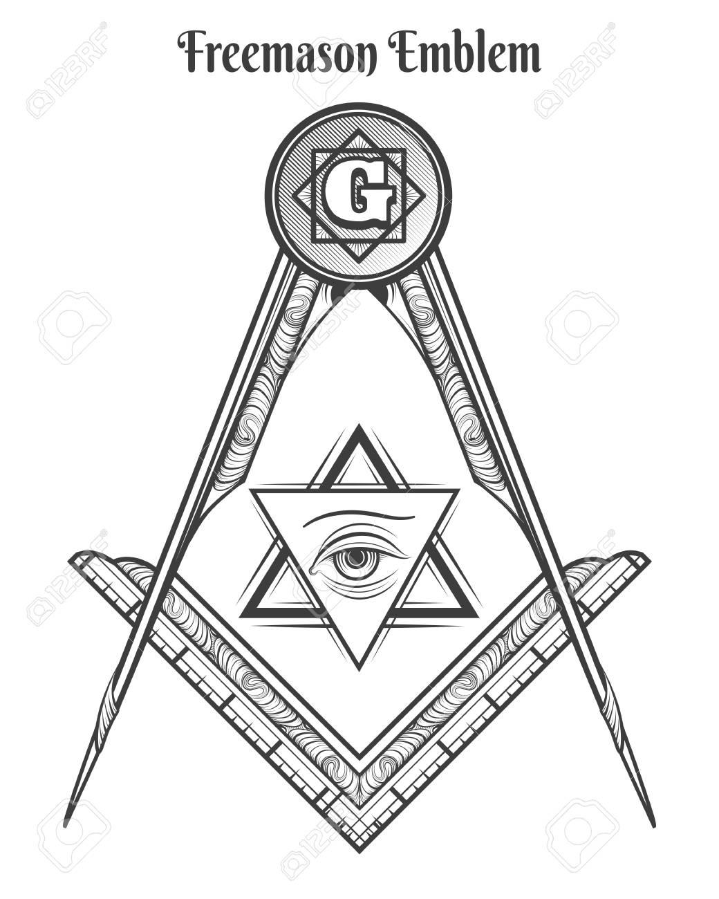 Freemason Square And Compass Vector Freemasonry Signs And Mason