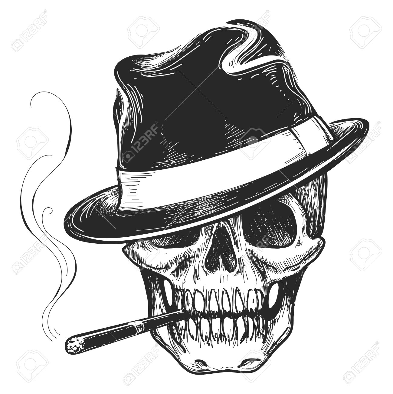 Gangster skull tattoo. Death head with cigar and hat vector illustration - 60858280