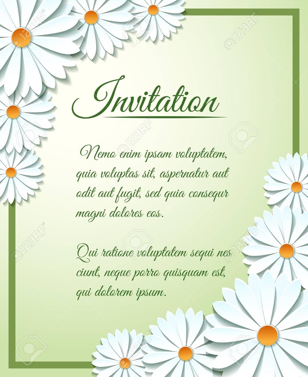 Plantilla De Tarjeta De Invitación Con Flores De Papel Origami Vector