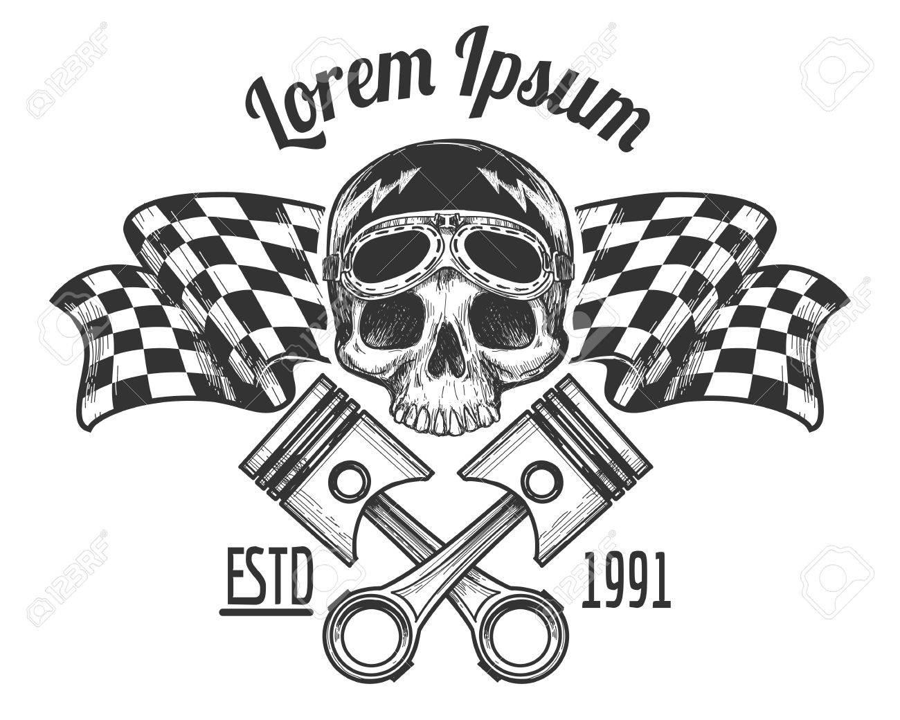 vintage biker rider skull tattoo banner with racing checkered