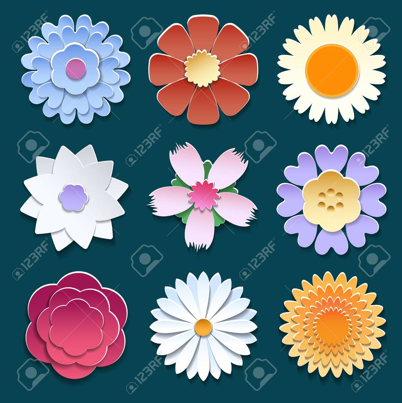 Vector Paper Cut 3d Origami Flowers Set Royalty Free Cliparts