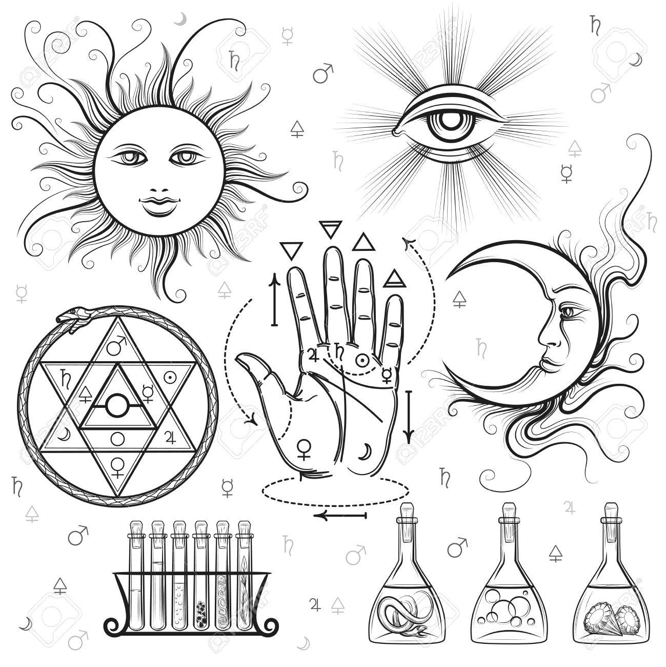 Esoteric signs vector symbols of philosophy and alchemy masonic vector symbols of philosophy and alchemy masonic and occult sciences stock vector buycottarizona Images