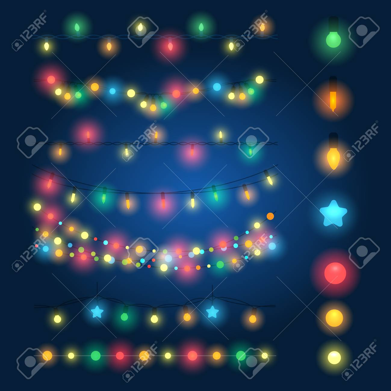 Christmas String Lights Vector Illustration Fairy Xmas Hanging Lighting Background Stock