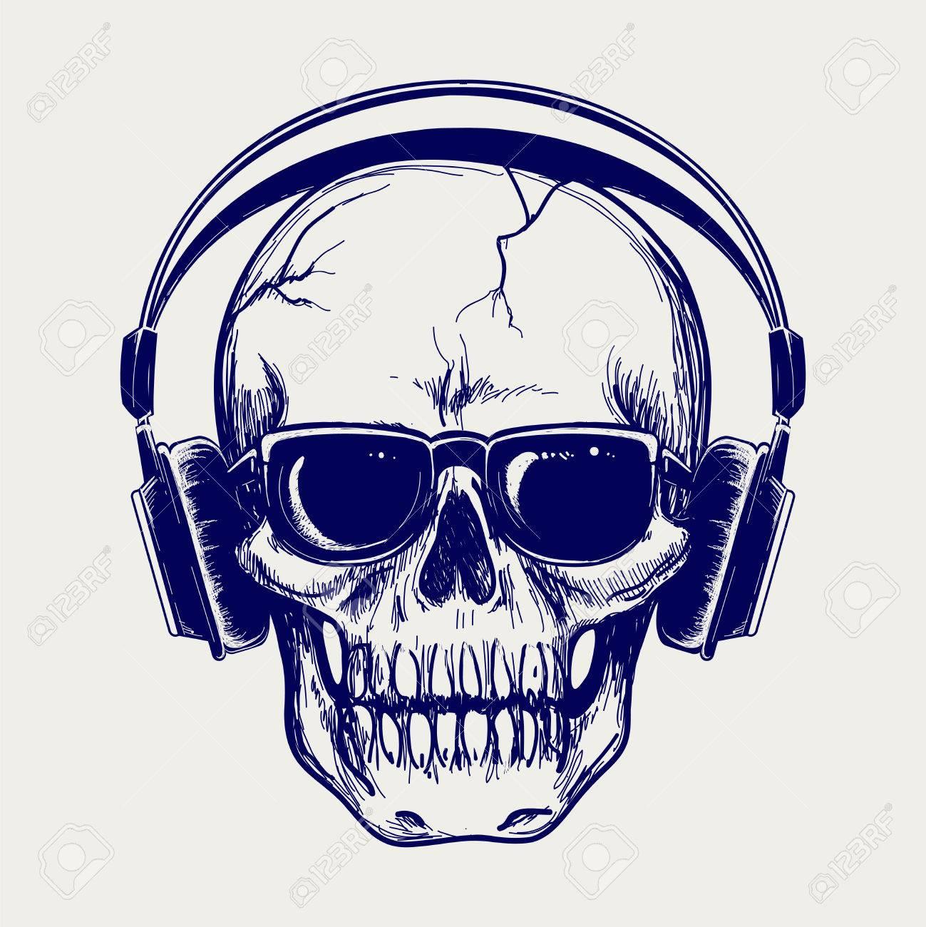 Drawing ball pen skull sketch with headphones vector