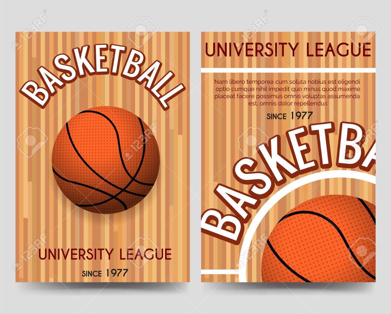 Univercity Basketball Broschüre Flyer Vorlage Mit Basketball Ball ...