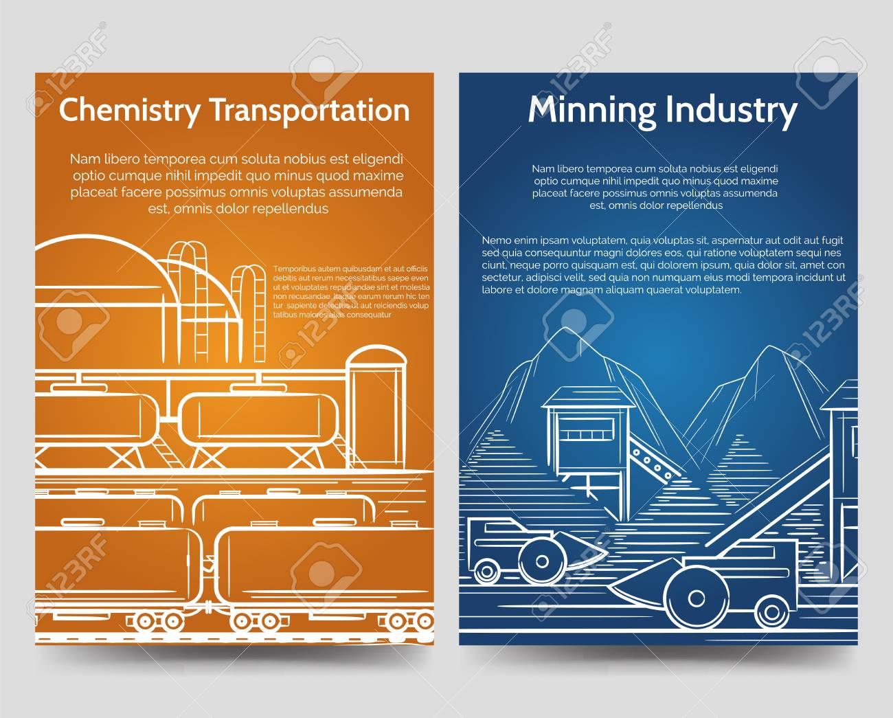 industrial brochure flyers template with factory industrial