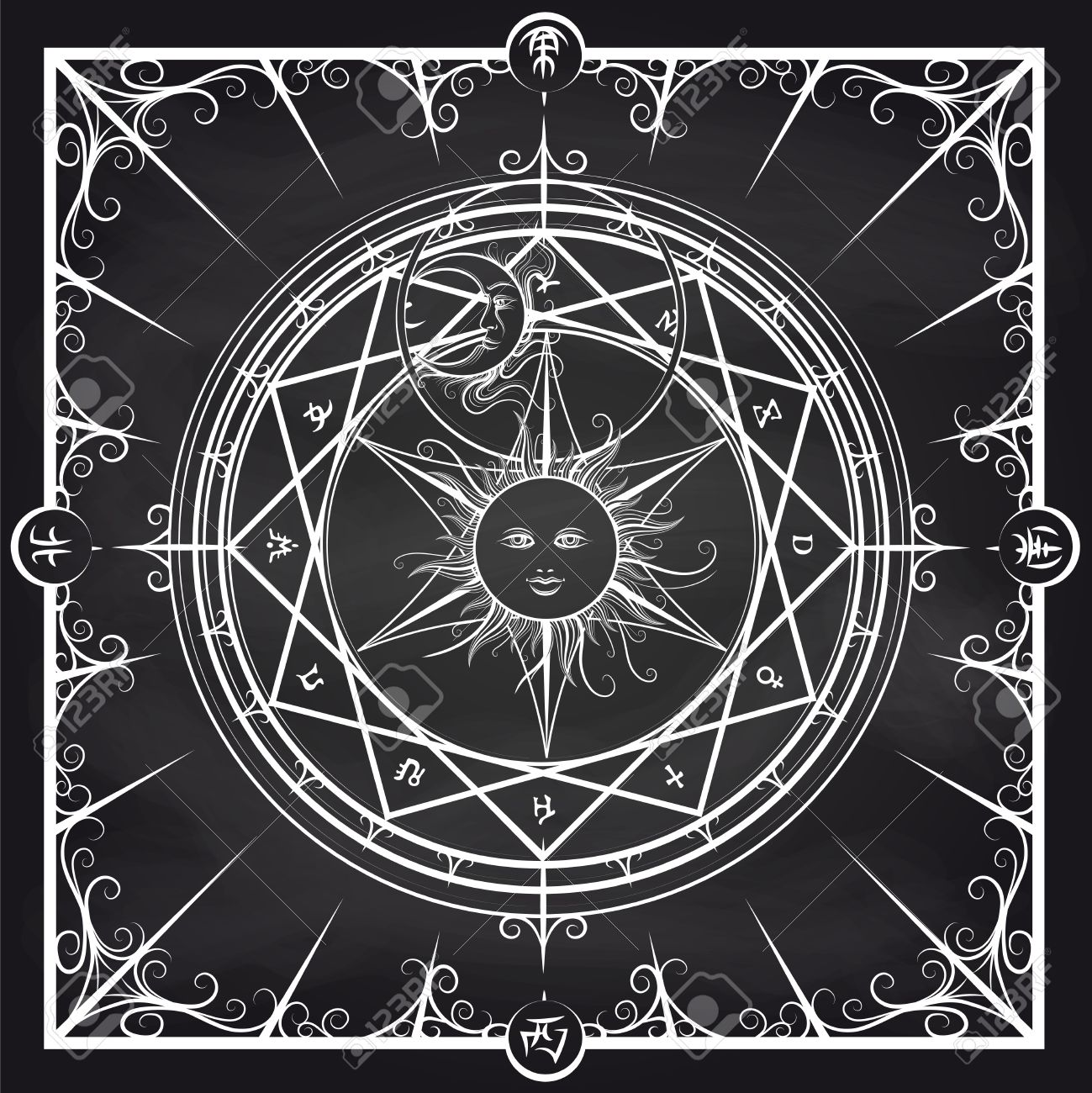 White occult hermetic circle vector illustration  Alchemy magic