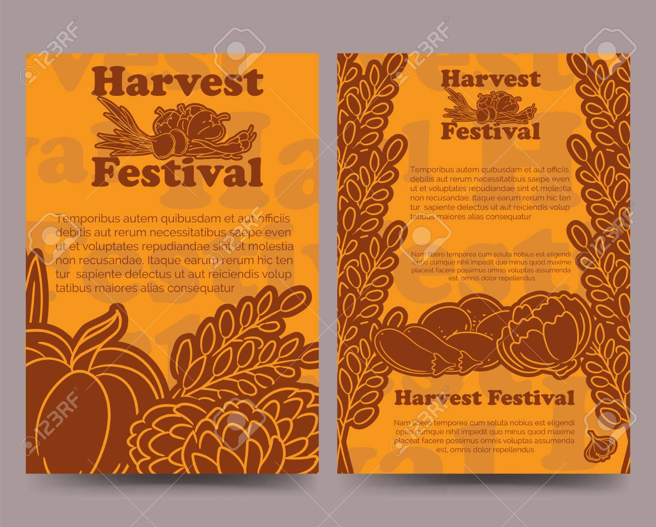 harvest festival brochure flyer template with lined vegetables vector illustration stock vector 63748891