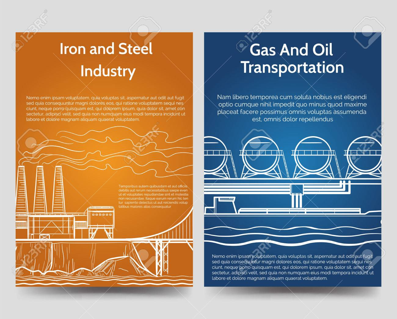 industrial brochure flyers template with gas oil transportation