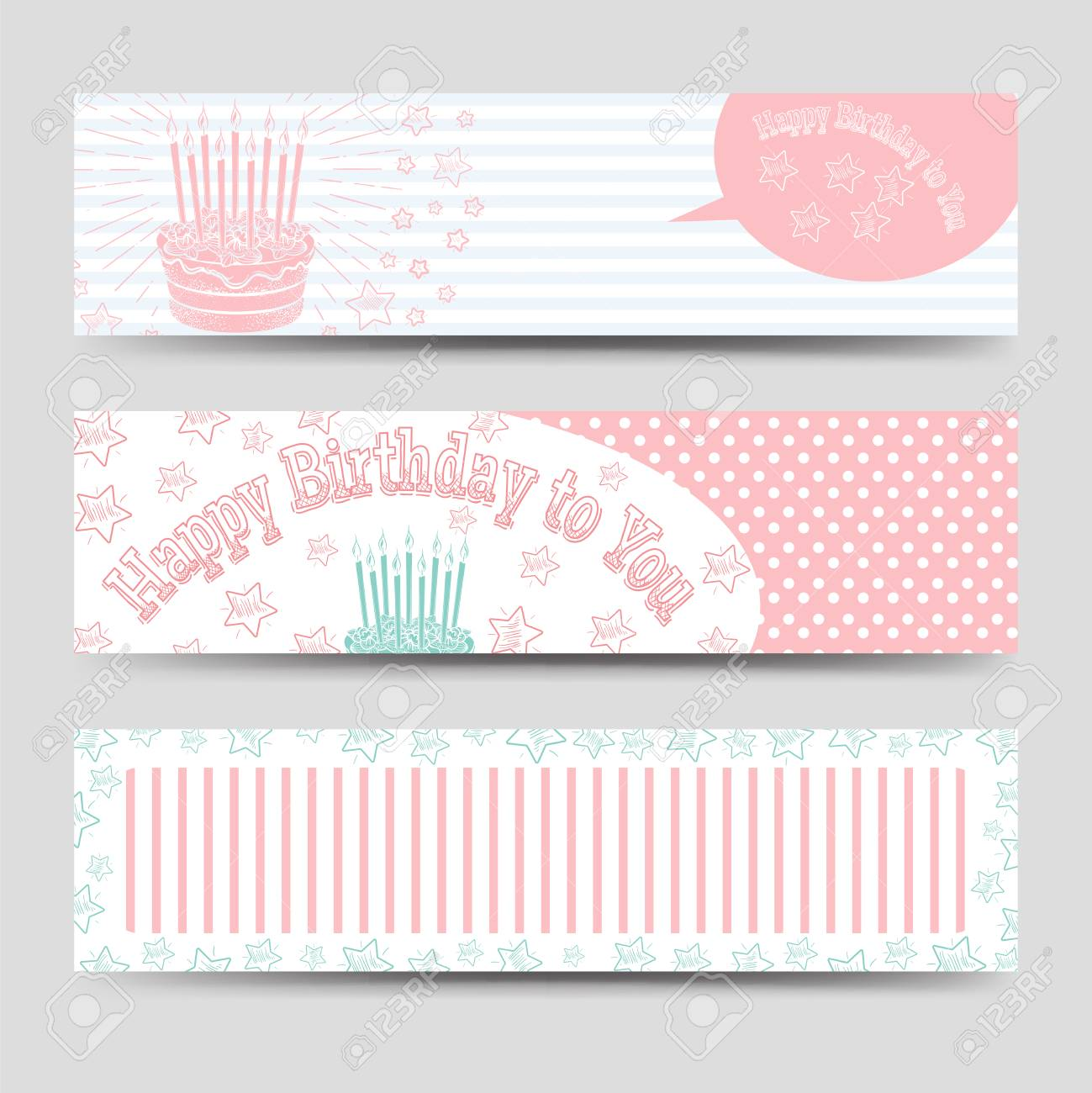 birthday banners template with cake stars and happy birthday
