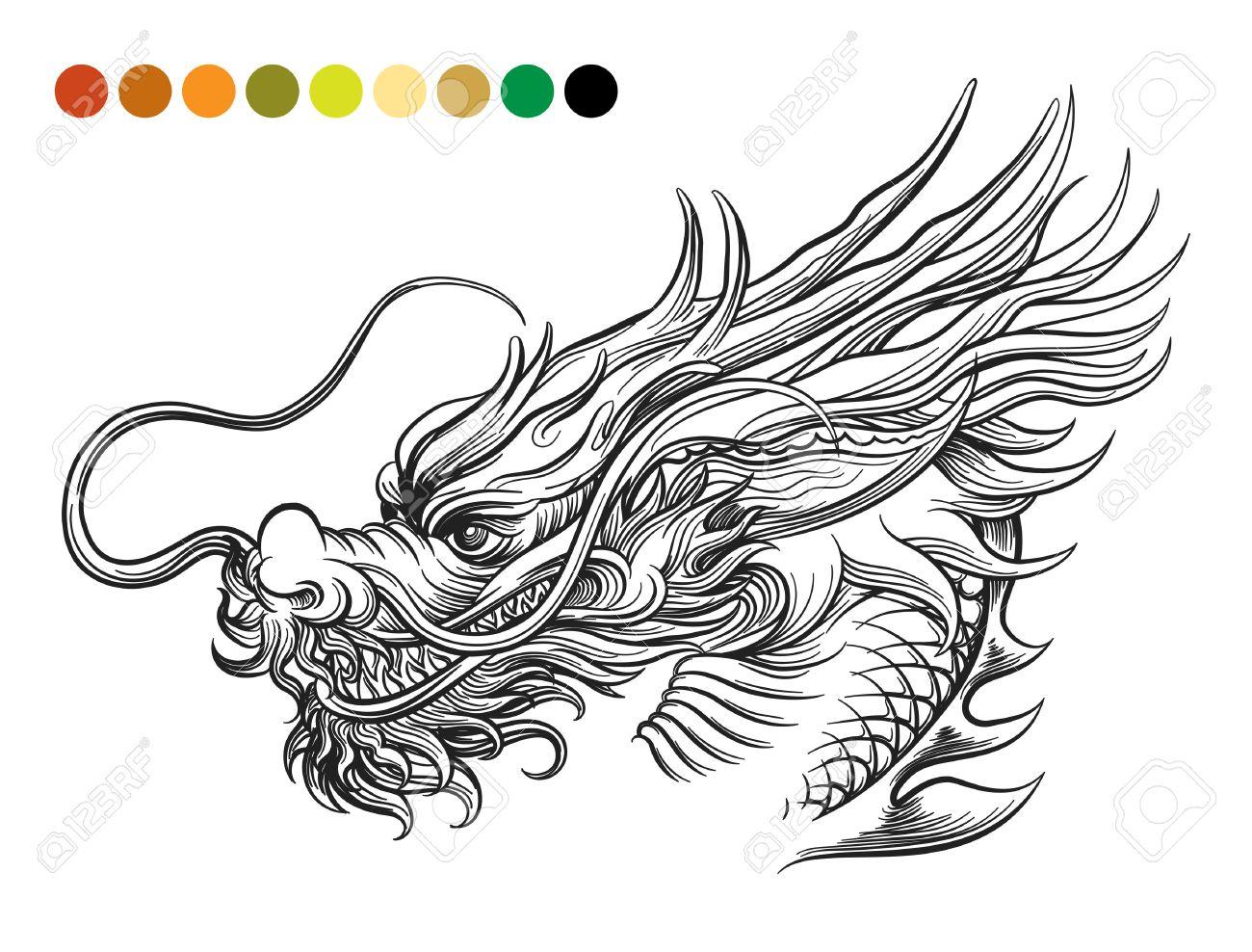 Excepcional Página Para Colorear Dragón Bandera - Dibujos Para ...
