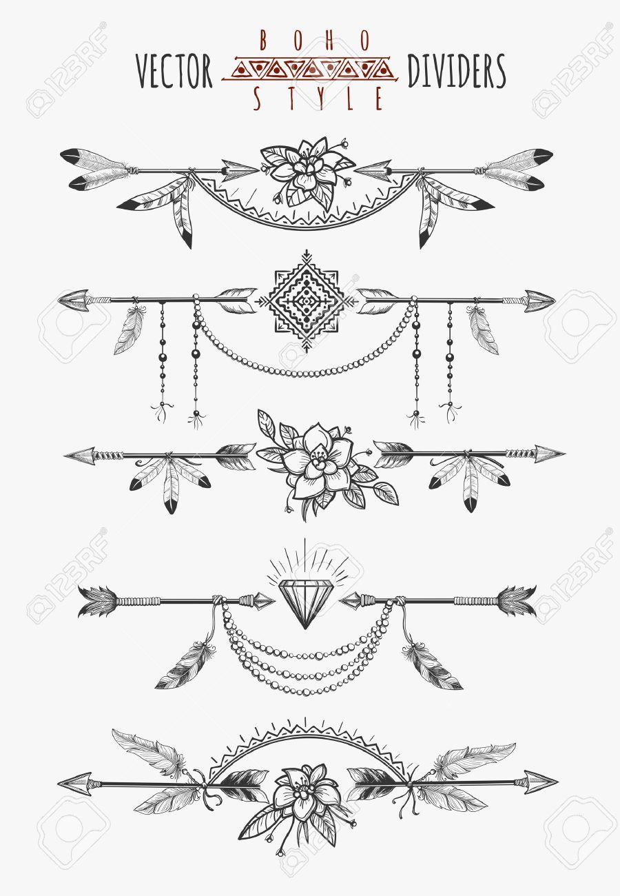 Dessin De Fleche flèche plumes page de dessin diviseurs. boho gitanes éléments