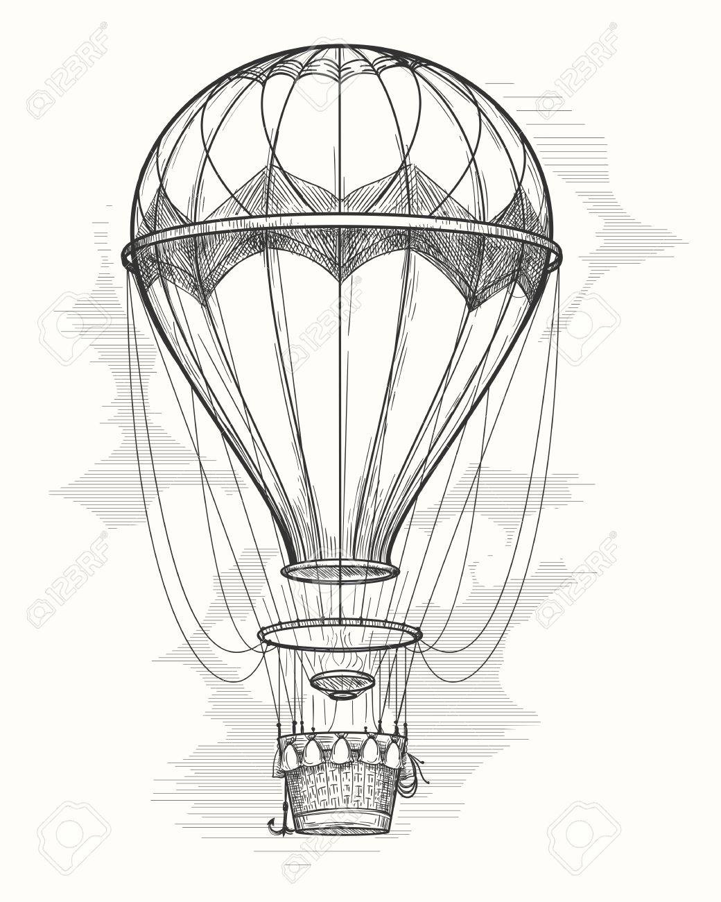 Retro hand drawing hot air balloon. Vintage hot air airship vector sketch - 66799453