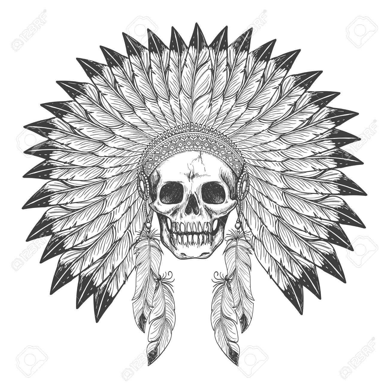 Cráneo Apache Indio Nativo Americano Con La Pluma Indio Tocado De La ...