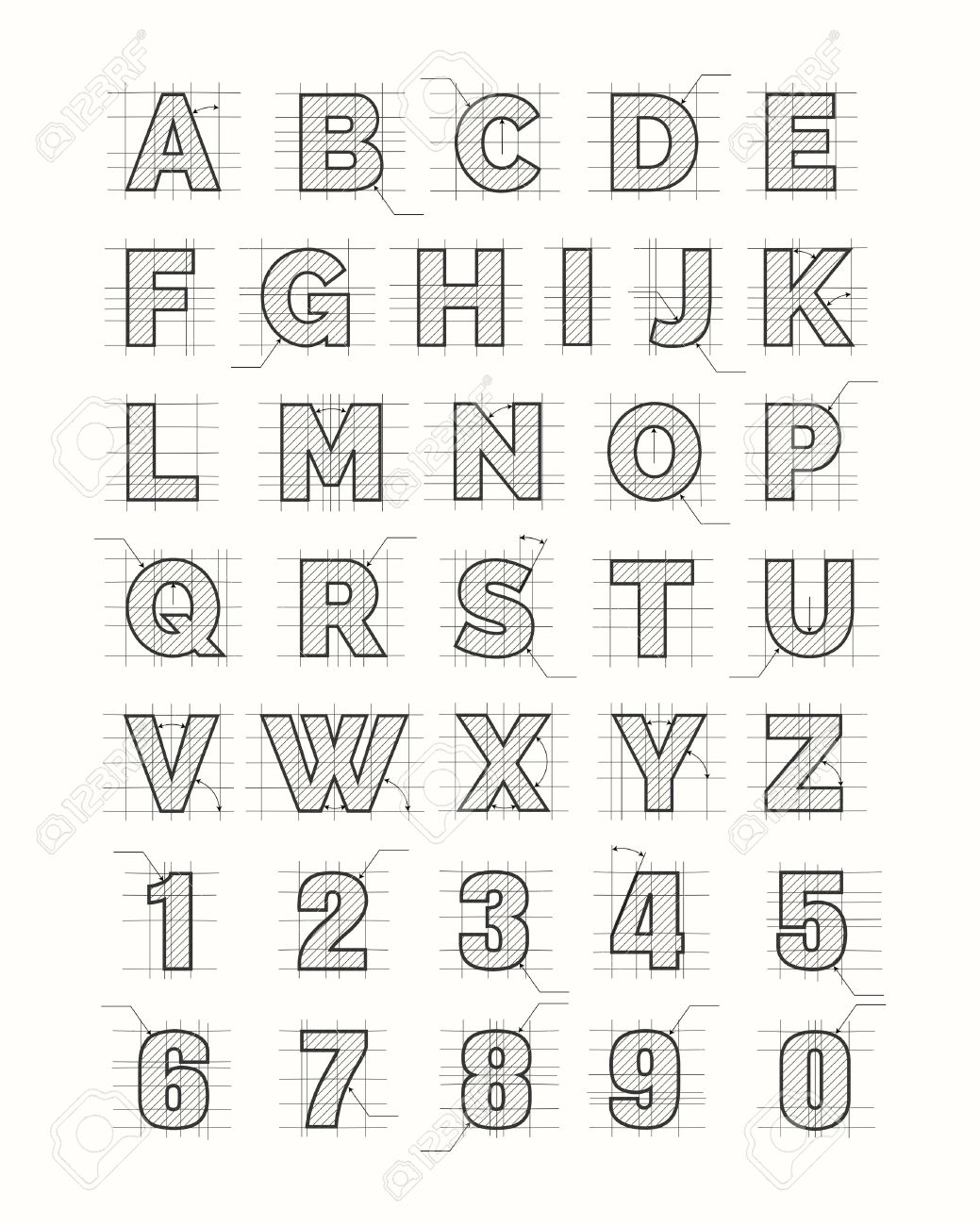 Drafting Paper Alphabet Vector Drawing Sketch Font Letters Stock