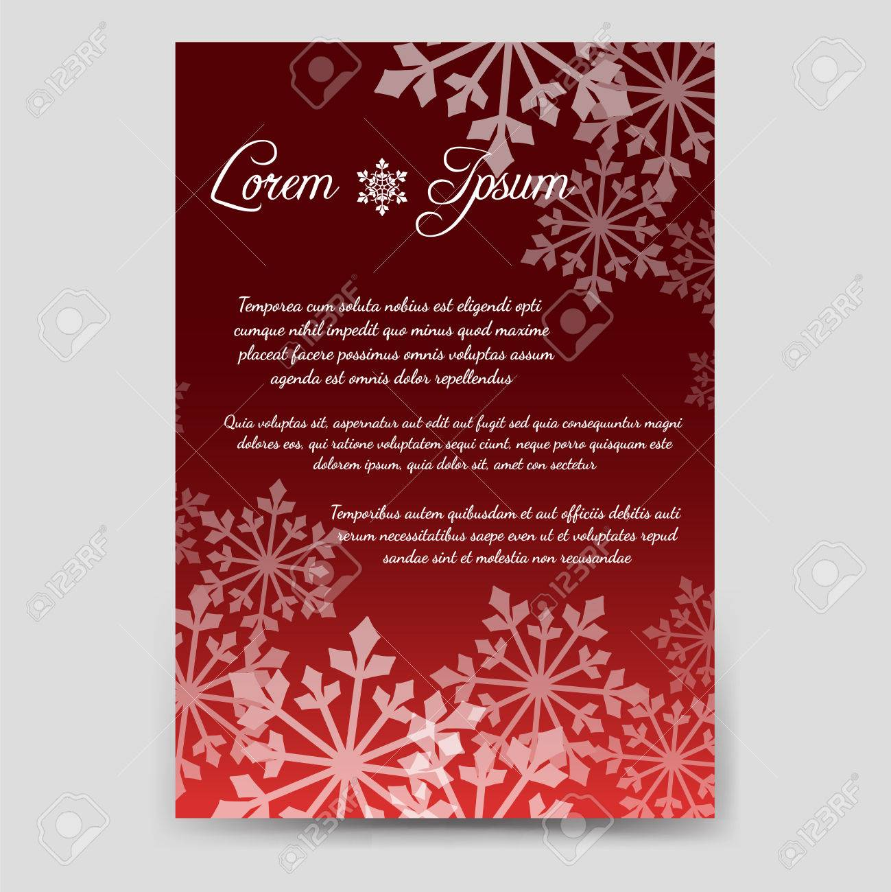Winter Brochure Flyer Template Design In A6 Size With Snowflakes ...