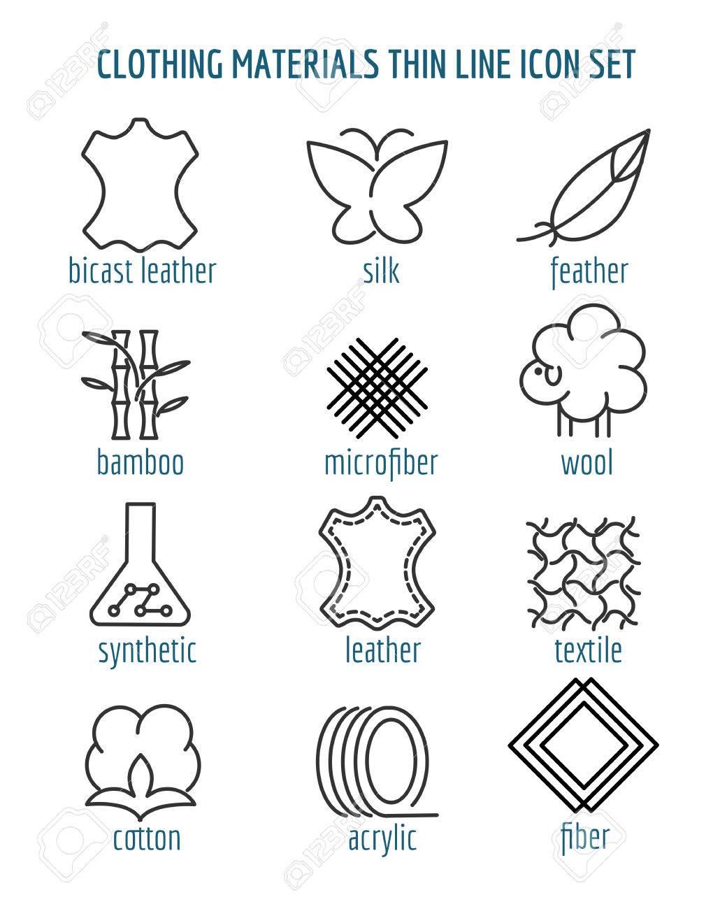 Kleidung Materialien Dunne Linie Symbole Baumwolle Und Seide Faser