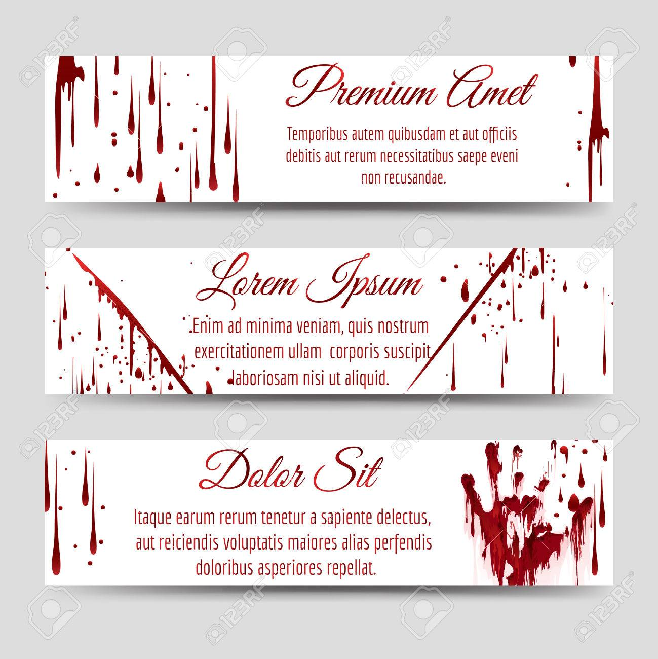 Horror Banners Template With Bloody Handprint Scratch And Blood ...