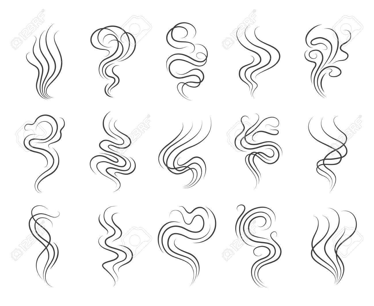 smoke smell line icons smoking and steaming vector signs stock vector 67931915