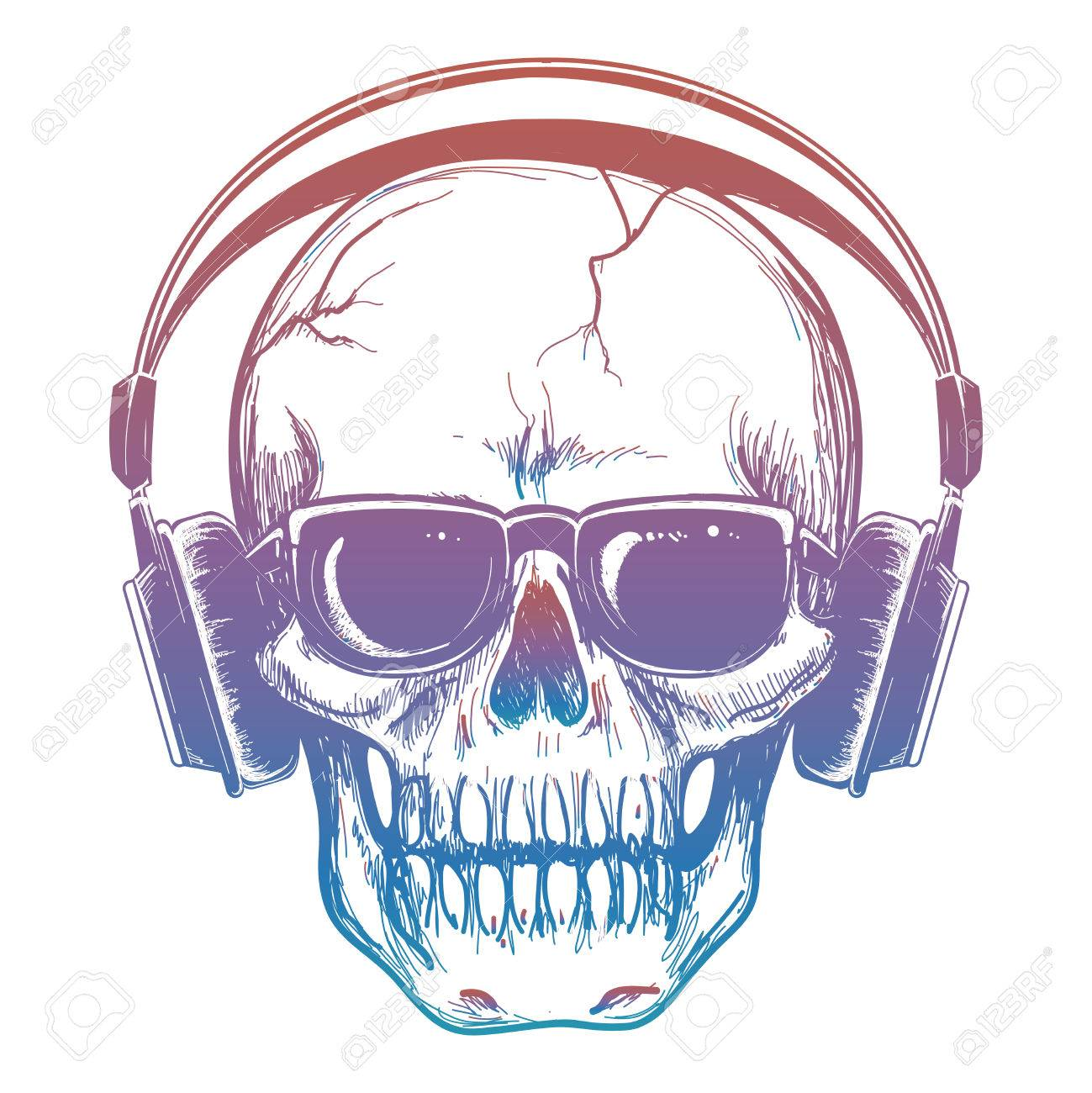 0b4accd9e99 Colorful sketch of skull and headphones. Vector human skull music lover  isolated on white illustration