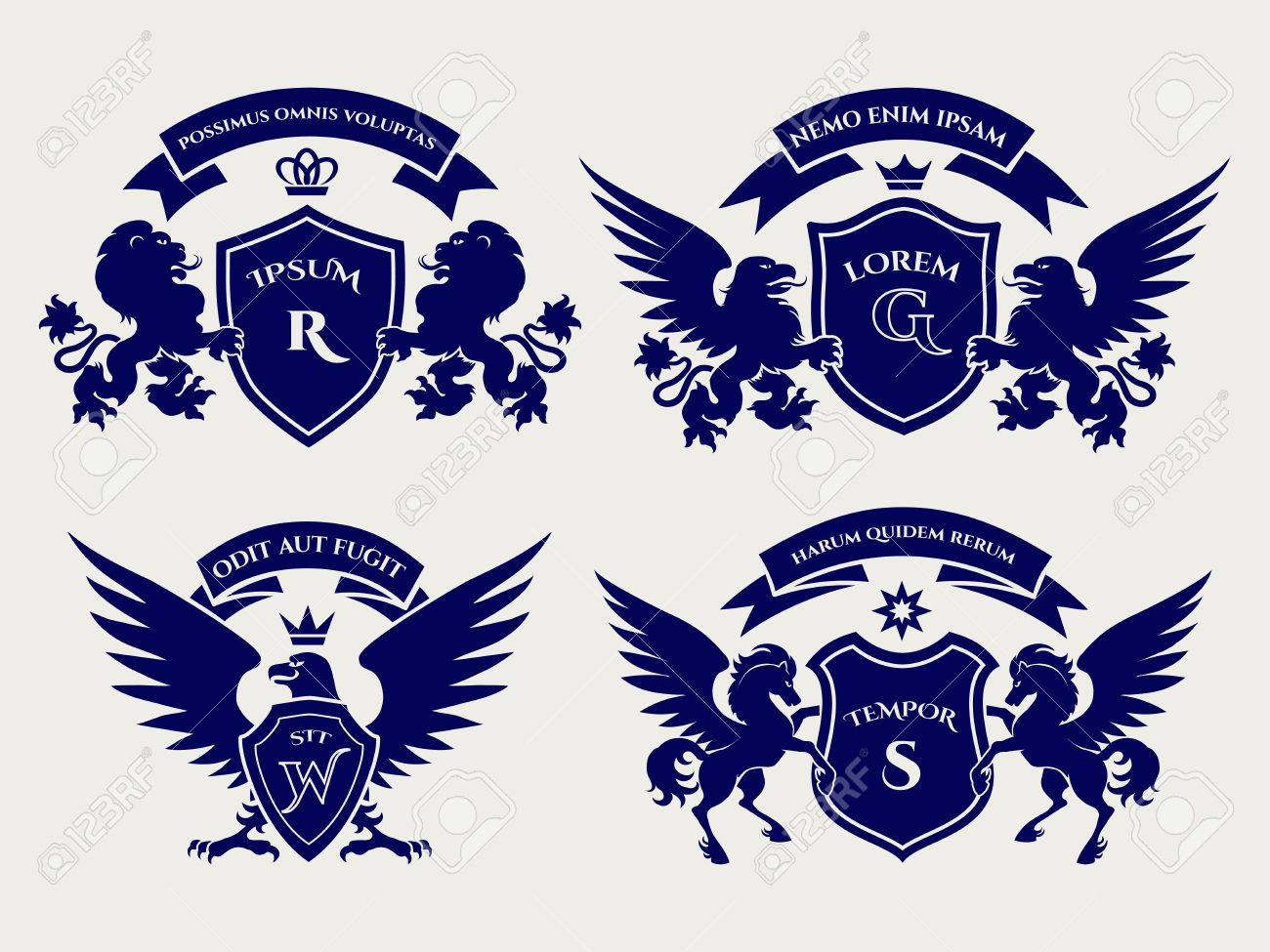 heraldry royal symbols with horses and lions and eagles crests rh 123rf com Royal Crest Vector Crest Outline