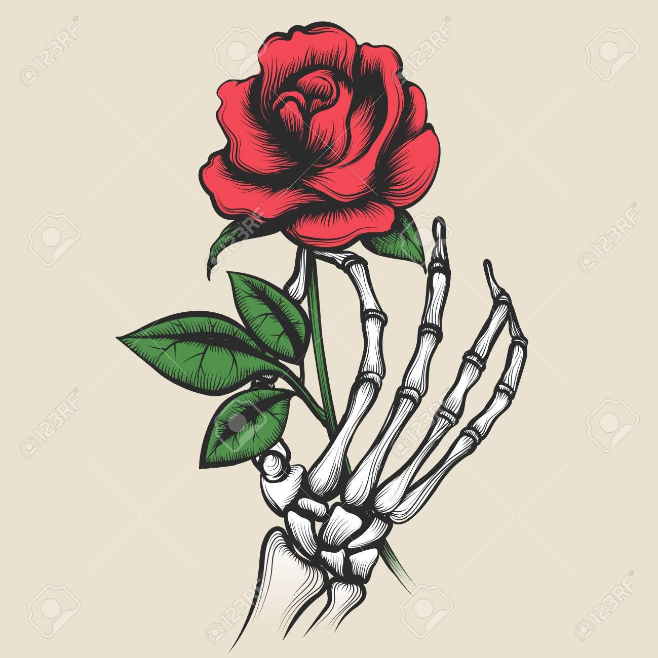Esqueleto Mano Con Rosa En Estilo Tatuaje. Red Rosebud En Hueso ...