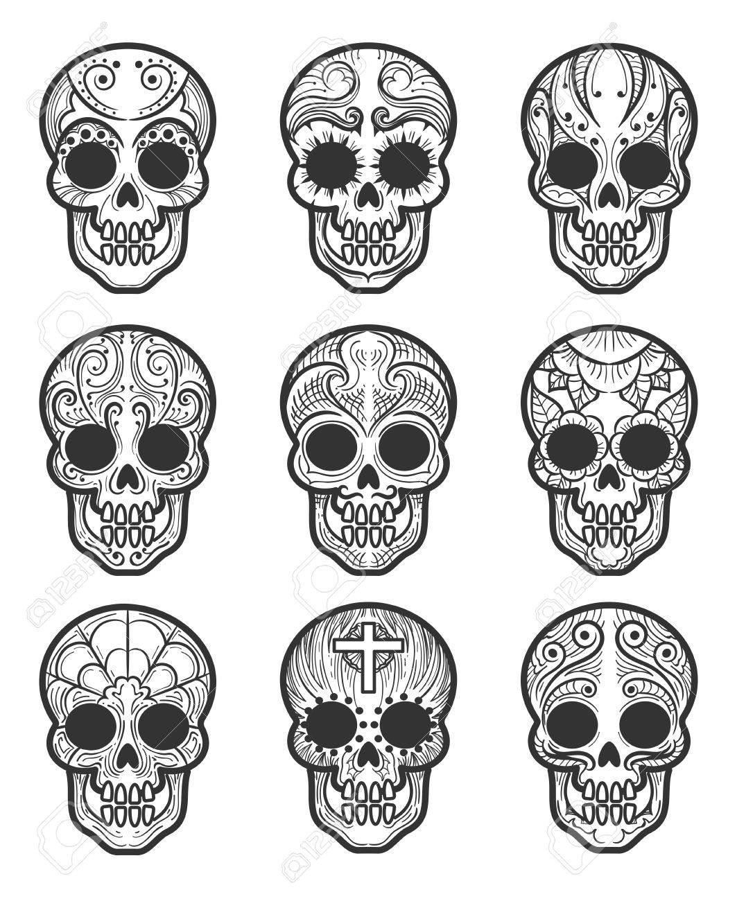 Calavera Tattoo Flash mexican day of the dead tattoo drawings - best tattoo ideas