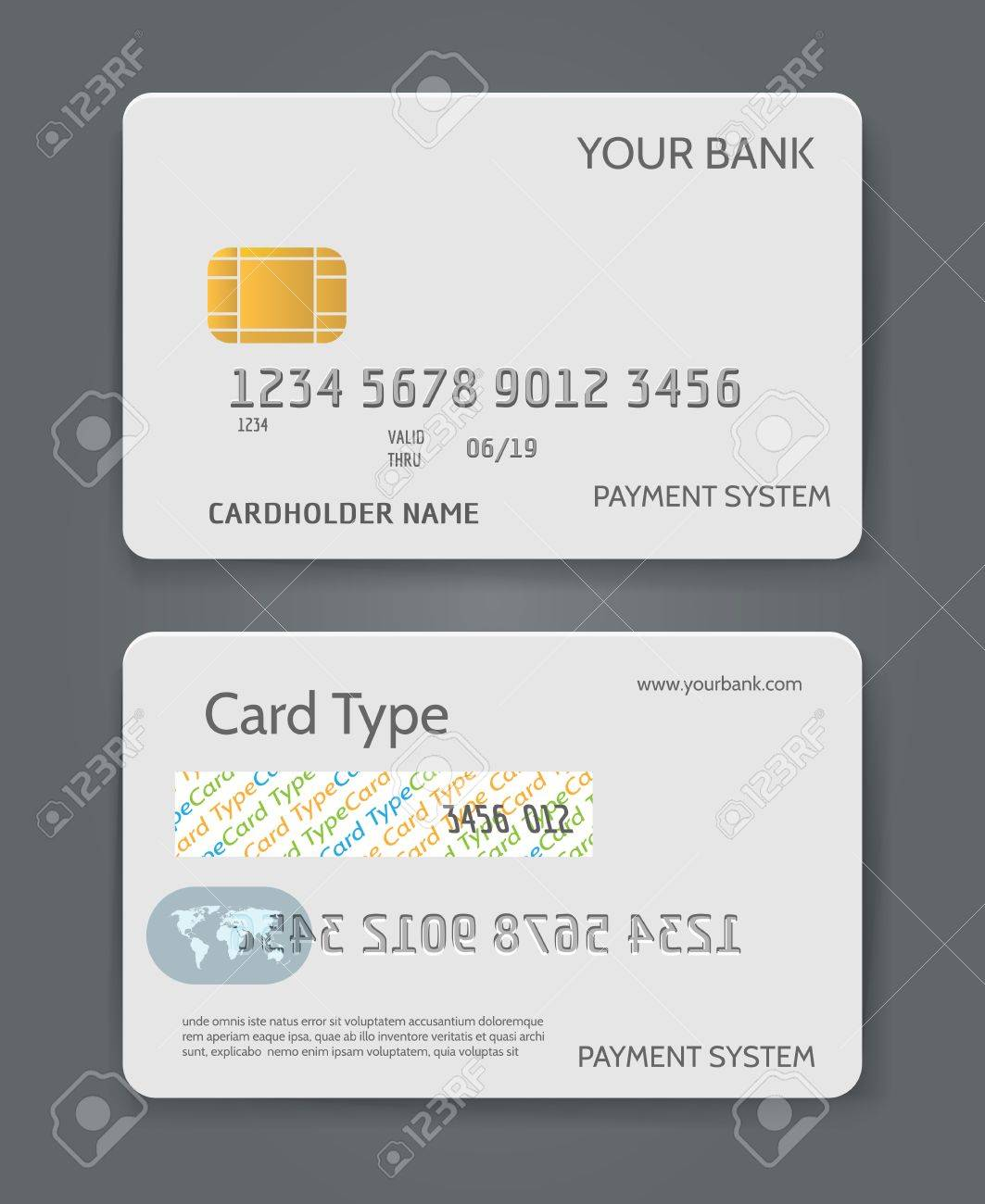 Bank Credit Card White Template Vector Illustration. Blank Plastic Throughout Credit Card Template For Kids