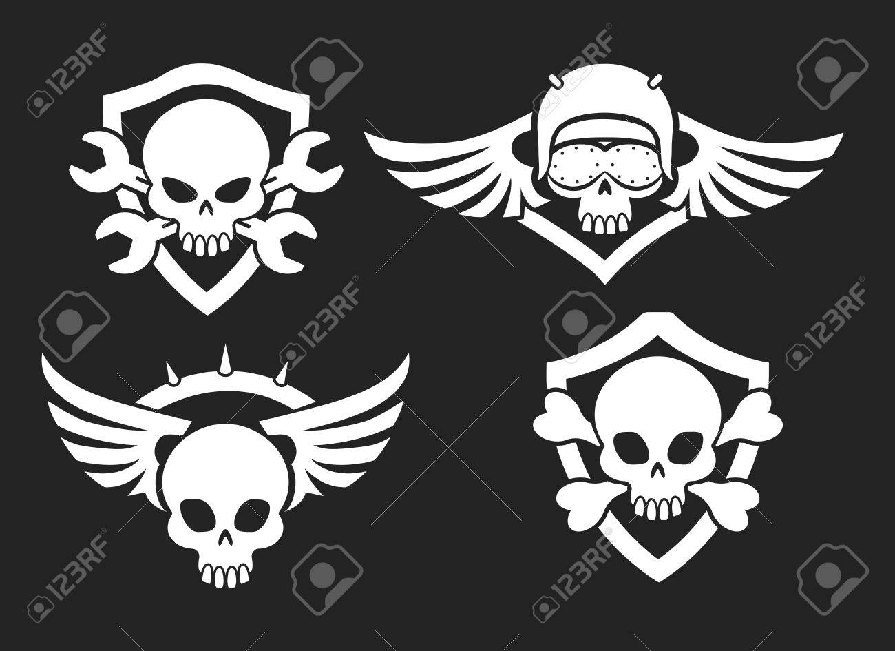 Motorbike riders skull signs vector biker club road symbols motorbike riders skull signs vector biker club road symbols with skeleton skulls with wings and buycottarizona Images