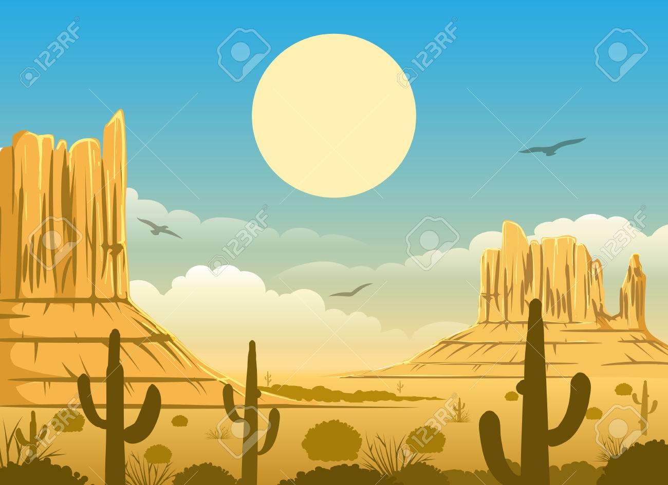 Western Cartoon Mexican Desert Sunset Horizonte Panorama Background