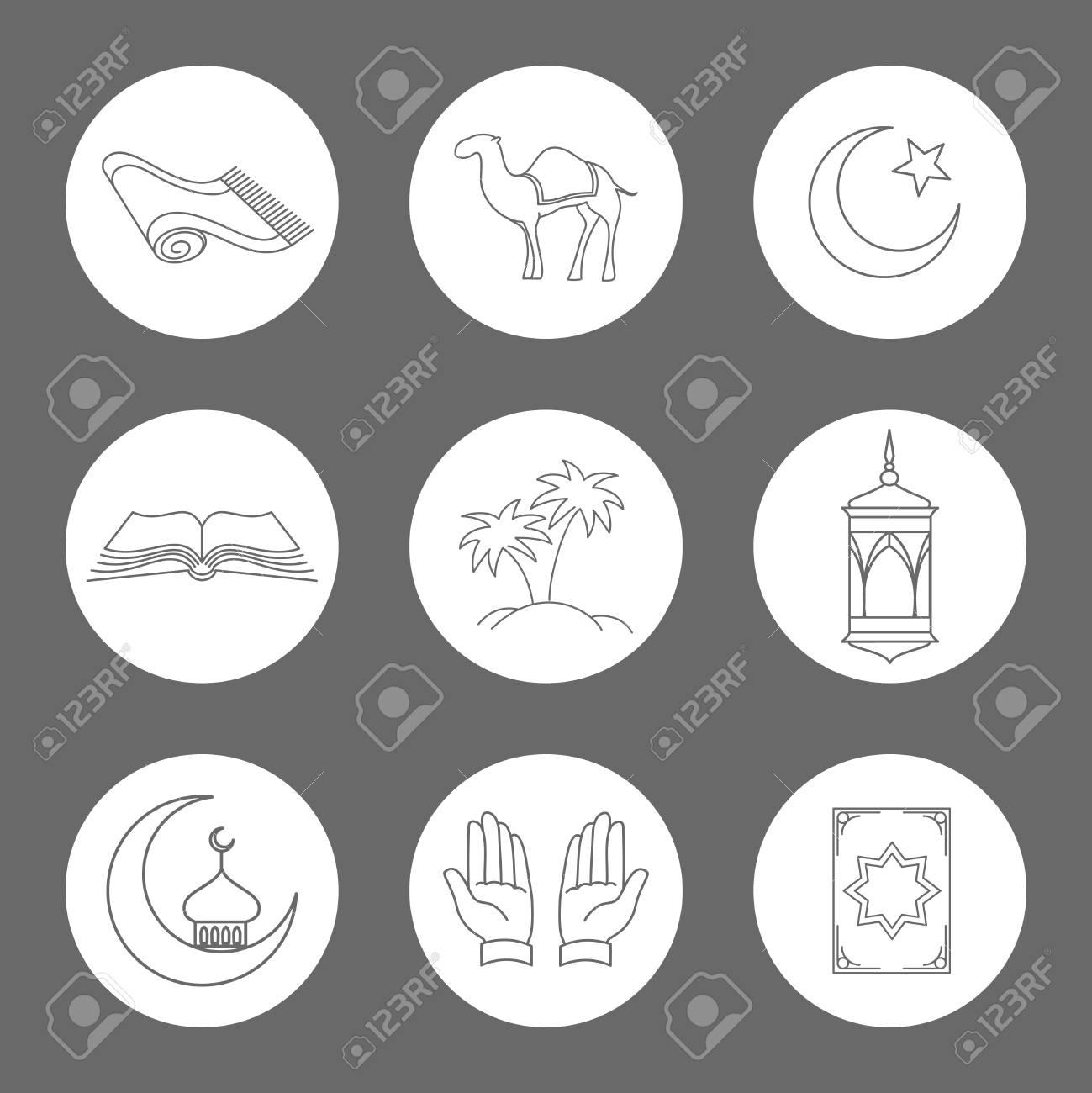 Arabic linear icons set vector muslim symbols on white rounds arabic linear icons set vector muslim symbols on white rounds banque dimages biocorpaavc