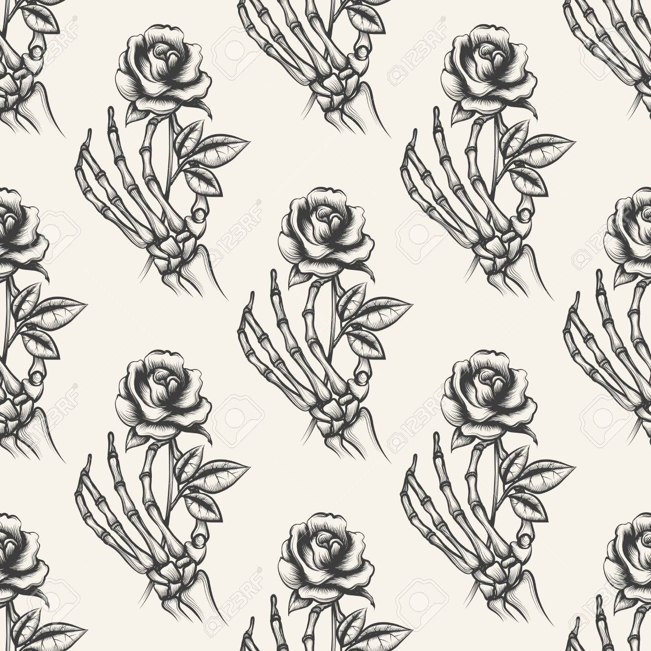 Skeleton Arm Sketch With Rose Vector Seamless Pattern Background