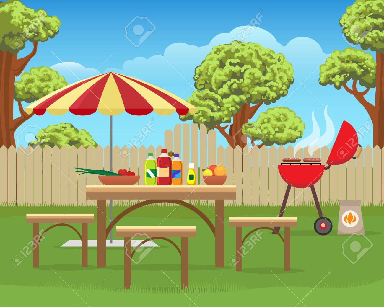 summer backyard fun bbq or grilling barbecue party cartoon vector