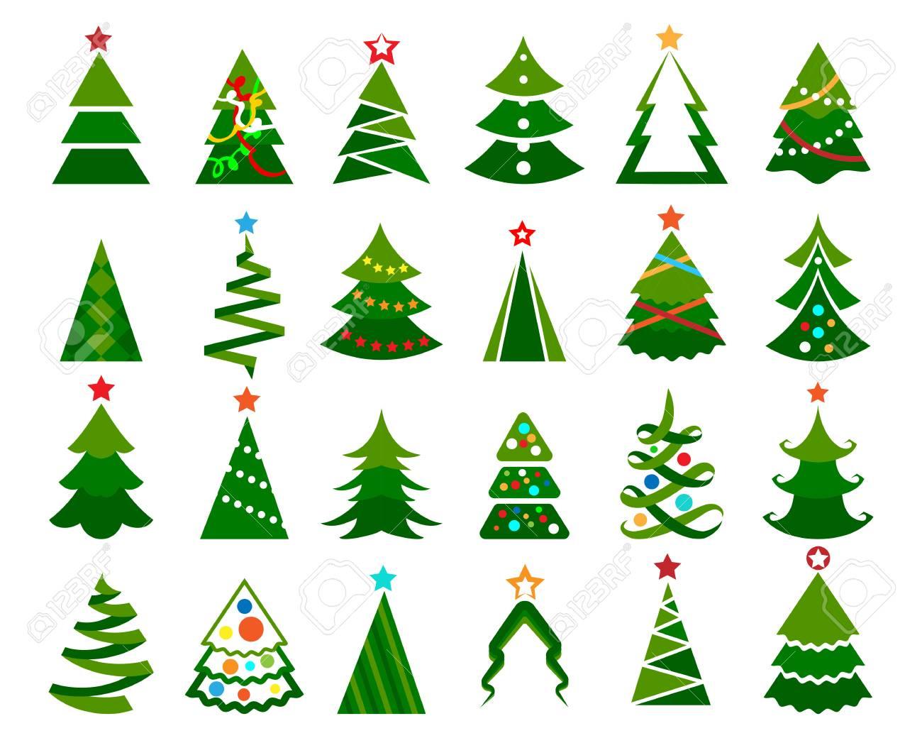 Arboles De Navidad Dibujos Coloreados.Conjunto De Vectores De Arbol De Navidad Ilustracion Coloreada De Dibujos Animados De Arboles Christma Felices Con Bolas Aisladas Sobre Fondo Blanco