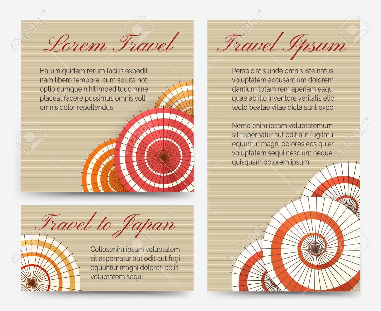 Tradicional Asiática Tarjetas De Invitación De Asia Con Paraguas Chino O Japonés Conjunto De Ilustración Vectorial