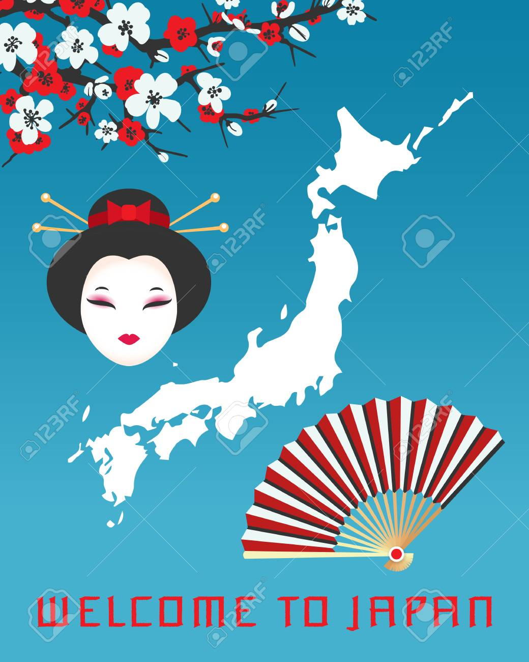 Welcome to Japan poster template  Vector illustration with map