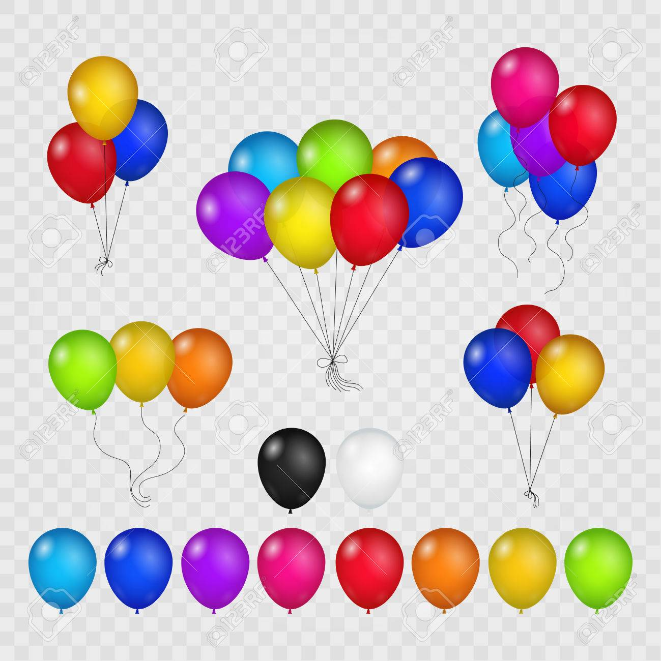 colored balloons isolated on transparent background flying helium