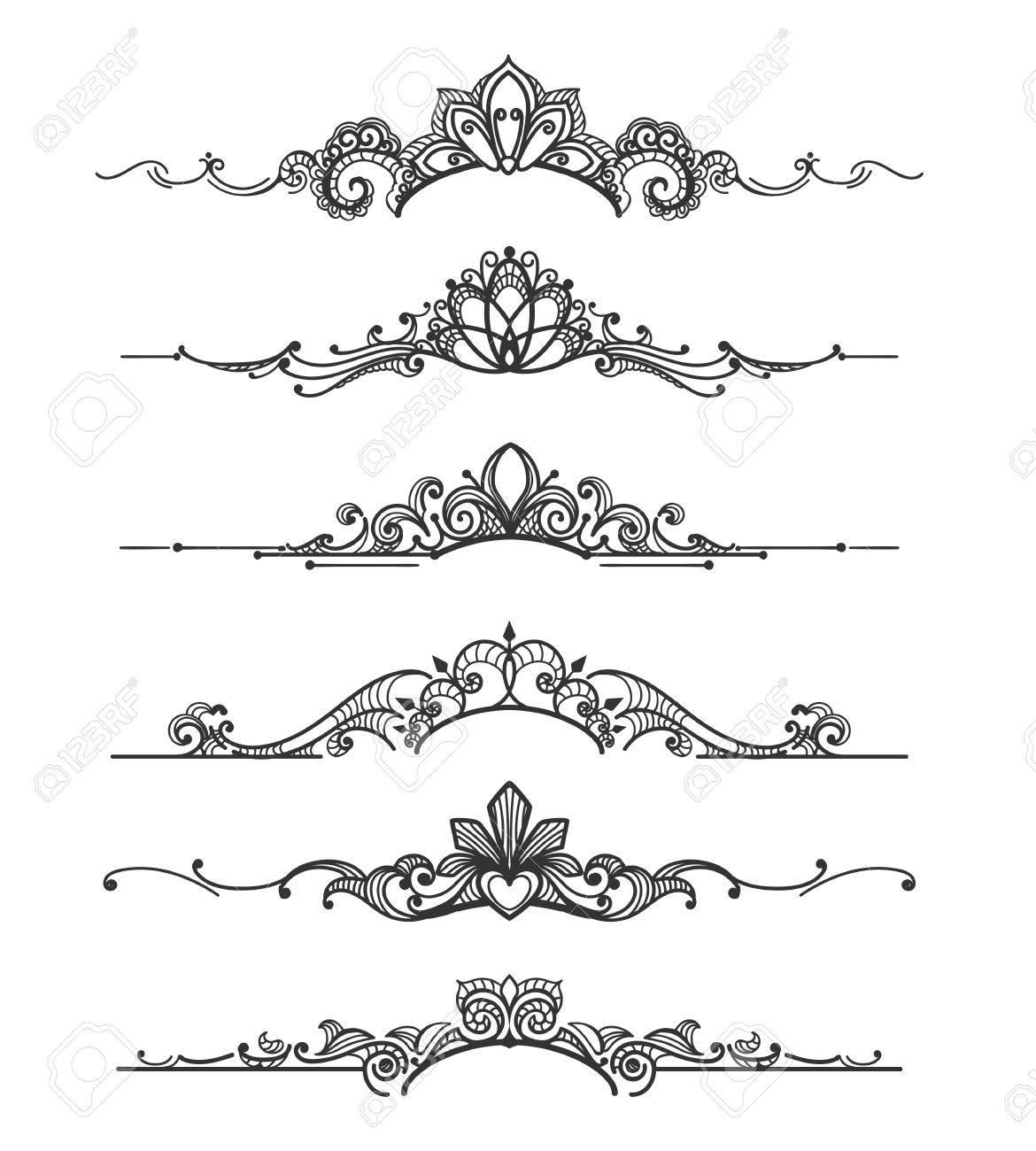 Floral design crown calligraphic elements linear royal tiara floral design crown calligraphic elements linear royal tiara curly vector dividers for elegant wedding flourish stopboris Gallery