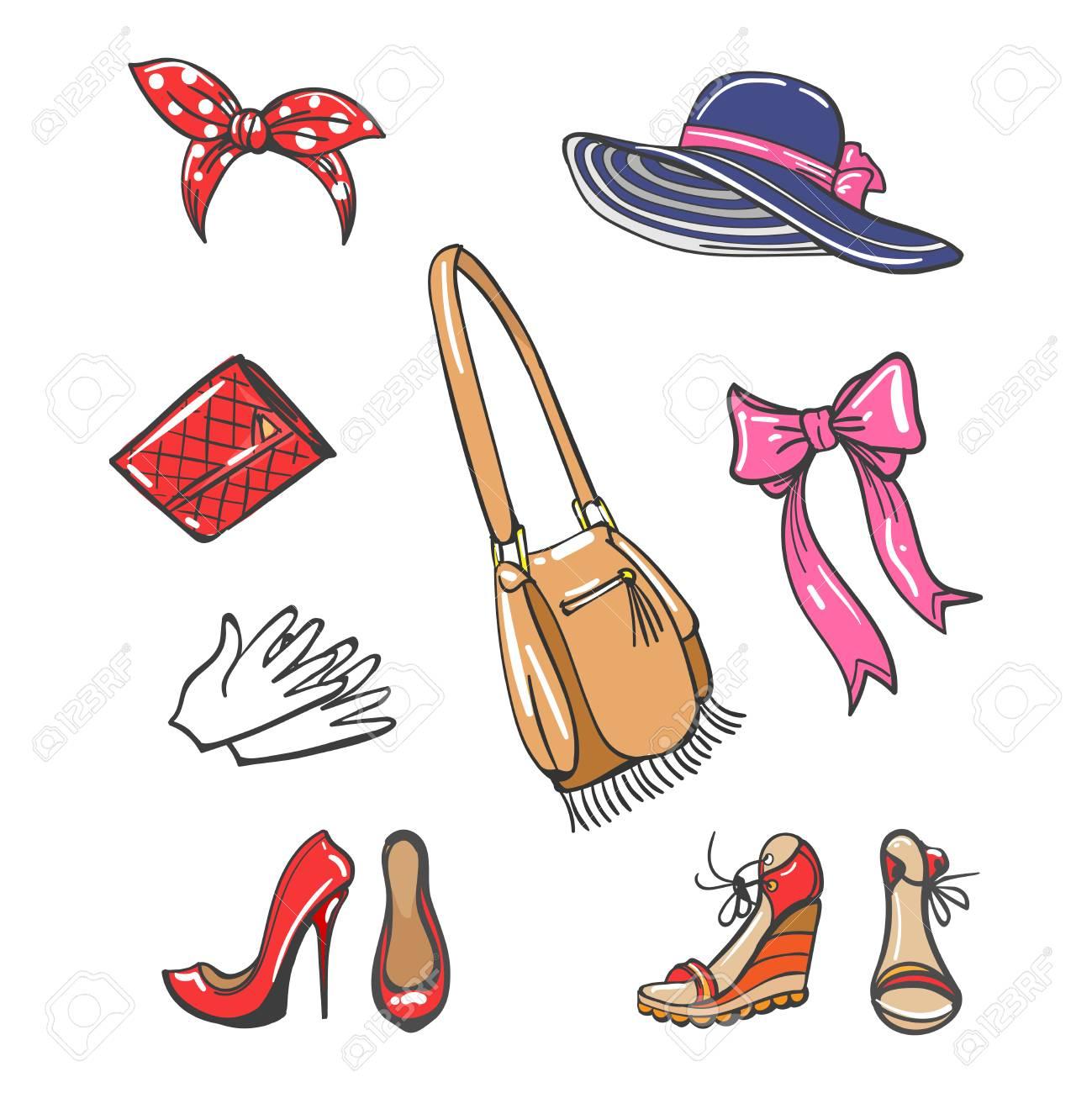 Accessoires de mode de filles isolés sur fond blanc. Chaussures de dessin  animé coloré de vecteur, chapeau, sacs