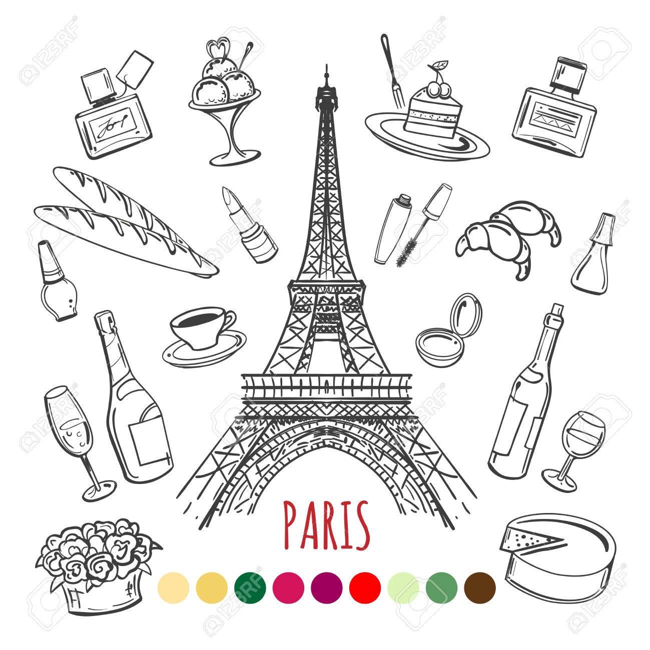 Página Para Colorear París Con Muestras De Color, Ilustración ...