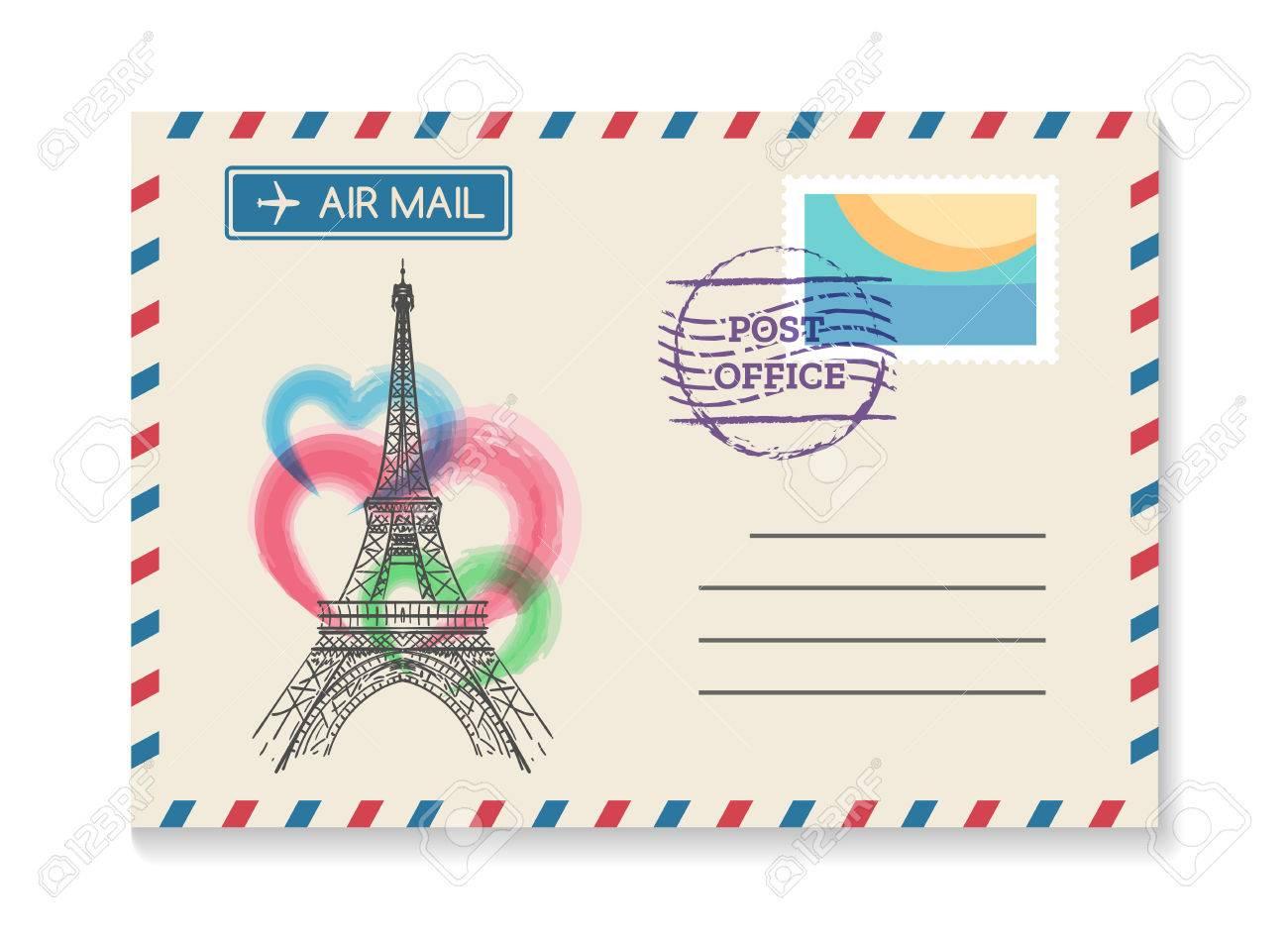 retro paris postal invitation vector vintage old wedding air