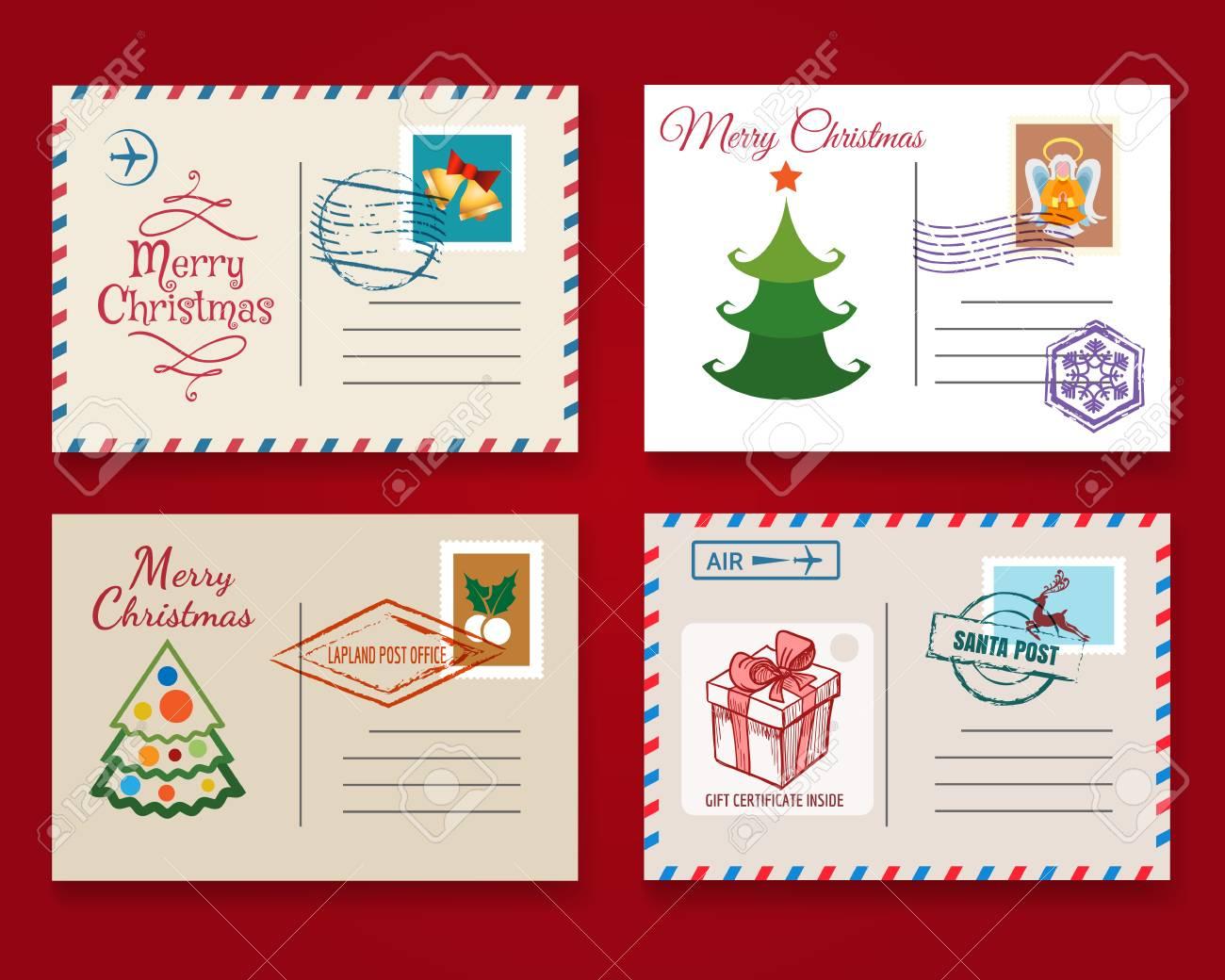 Xmas Postcard Template Set. Vector Vintage Merry Christmas Holiday ...